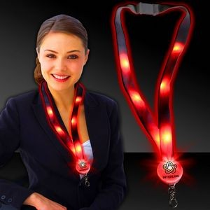 "32"" Red Light-Up Flat Lanyards"