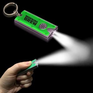 "2 1/2""x1"" Silver/Green Rectangle Flash Light Keychain"