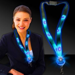 "32"" Blue Light-Up Flat Lanyards"