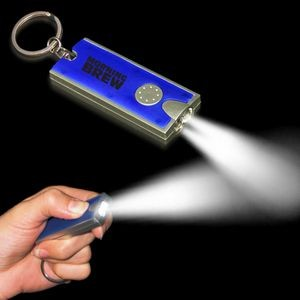 "2 1/2""x1"" Silver/Blue Rectangle Flash Light Keychain"