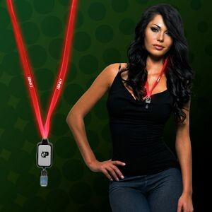 Red Light Up LED Lanyard w/Badge Clip