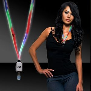 Multi Color LED Light Up Lanyard with Badge Clip