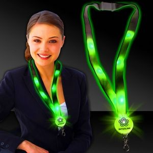 "32"" Green Light-Up Flat Lanyards"