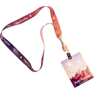 "Conference Combo - 5/8"" One Color Lanyard with 3"" x 4"" Full Color ID Badge"